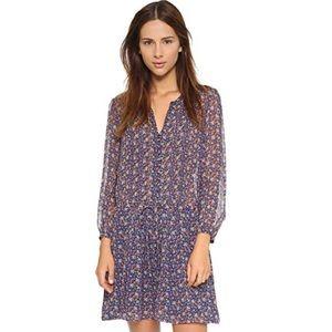 Joie Xyla boho navy silk print dress, size XS